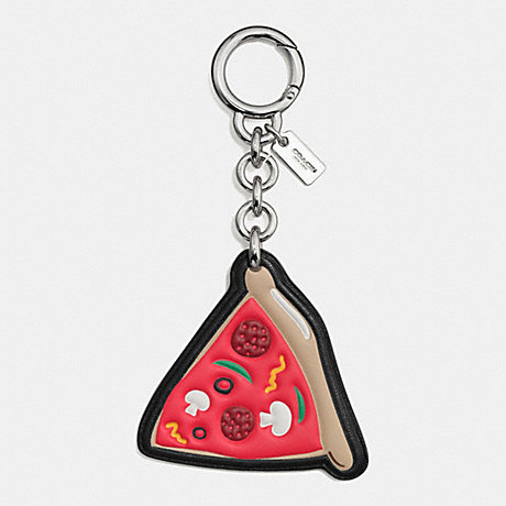 COACH f58507 NYC PIZZA CHARM SILVER/TRUE RED MULTI