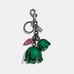 GLITTER TEA ROSE BAG CHARM - BLACK/KELLY GREEN - COACH F58514