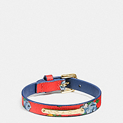 COACH COACH FLORAL COATED CANVAS BUCKLE BRACELET - GOLD/BRIGHT RED - F58520