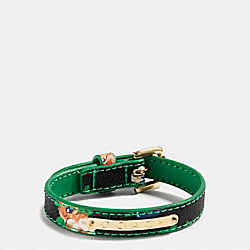 COACH FLORAL COATED CANVAS BUCKLE BRACELET - GOLD/BLACK LEAF - COACH F58520