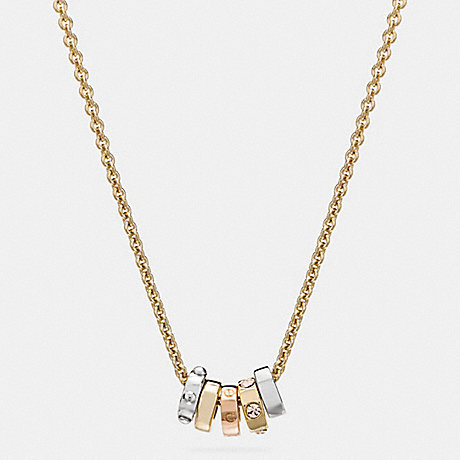 COACH SHORT COACH RIVET RING NECKLACE - GOLD/SILVER - f58524