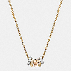 SHORT COACH RIVET RING NECKLACE - GOLD/SILVER - COACH F58524