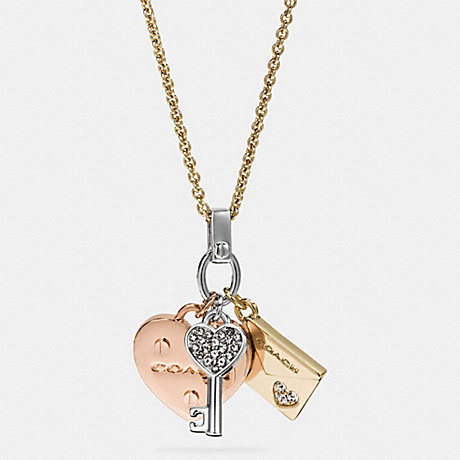COACH LONG HEART AND KEY MIX CHARM NECKLACE - GOLD/SILVER ROSEGOLD - f58528