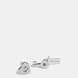 HEART AND KEY STUD EARRINGS - SILVER - COACH F58530