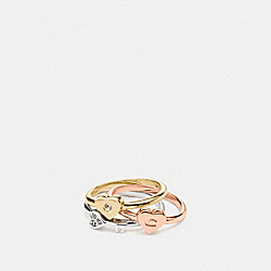 COACH HEART MIX RING SET - GOLD/SILVER ROSEGOLD - F58532