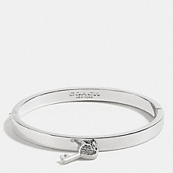 KEY CHARM HINGED BANGLE - SILVER - COACH F58535