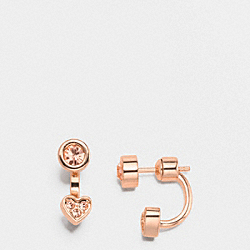 COACH HEART DOUBLE STUD EARRINGS - ROSEGOLD - F58537