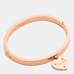 COACH HEART CHARM HINGED BANGLE - ROSEGOLD - F58539