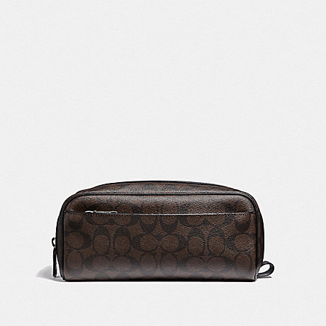 COACH TRAVEL KIT IN SIGNATURE CANVAS - MAHOGANY/BLACK/BLACK ANTIQUE NICKEL - F58540