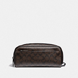 TRAVEL KIT IN SIGNATURE CANVAS - MAHOGANY/BLACK/BLACK ANTIQUE NICKEL - COACH F58540