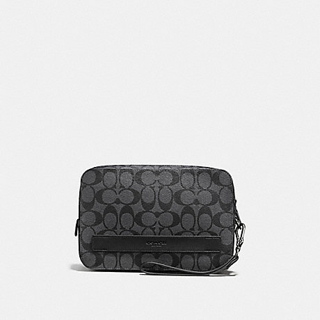 COACH f58541 POUCHETTE IN SIGNATURE CHARCOAL/BLACK