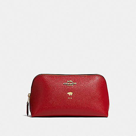COACH LUNAR NEW YEAR COSMETIC CASE 17 - TRUE RED/IMITATION GOLD - F58548