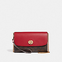 LUNAR NEW YEAR CHAIN CROSSBODY IN COLORBLOCK SIGNATURE CANVAS - BROWN BLACK/PINK MULTI/IMITATION GOLD - COACH F58549
