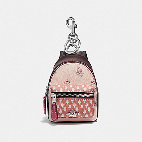 COACH BACKPACK COIN CASE WITH FLORAL DITSY PRINT - LIGHT PINK MULTI/SILVER - F58553