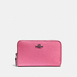 MEDIUM ZIP AROUND WALLET - BRIGHT PINK/DARK GUNMETAL - COACH F58584