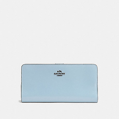 COACH SKINNY WALLET - DARK GUNMETAL/PALE BLUE - f58586