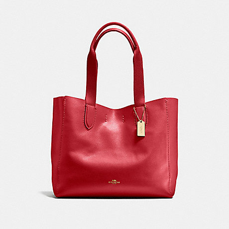 COACH DERBY TOTE - TRUE RED/LIGHT GOLD - F58660