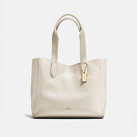 COACH f58660 DERBY TOTE IN PEBBLE LEATHER IMITATION GOLD/CHALK NEUTRAL