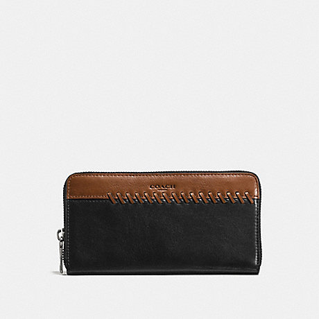 COACH RIP AND REPAIR ACCORDION WALLET - BLACK/SADDLE - f58694