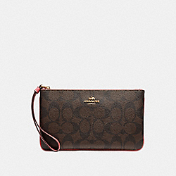 LARGE WRISTLET IN SIGNATURE CANVAS - BROWN/PEONY/LIGHT GOLD - COACH F58695