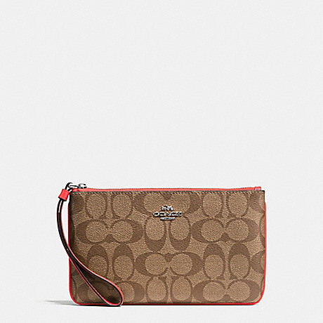 COACH LARGE WRISTLET IN SIGNATURE COATED CANVAS - SILVER/KHAKI - f58695