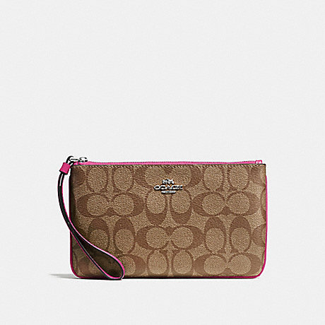 COACH LARGE WRISTLET IN SIGNATURE CANVAS - KHAKI/CERISE/SILVER - F58695