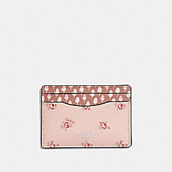 CARD CASE WITH DITSY FLORAL PRINT - LIGHT PINK MULTI/SILVER - COACH F58717