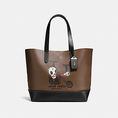 COACH GOTHAM TOTE WITH WILD MOTO PRINT - DARK SADDLE/BLACK - F58770