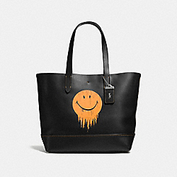 GOTHAM TOTE WITH GNARLY FACE PRINT - BLACK/BURNT SIENNA - COACH F58771