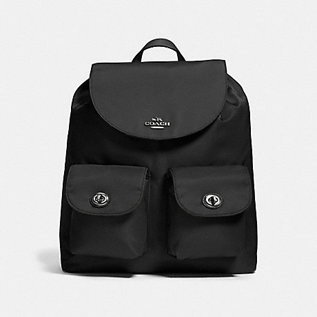 COACH NYLON BACKPACK - ANTIQUE NICKEL/BLACK - f58814