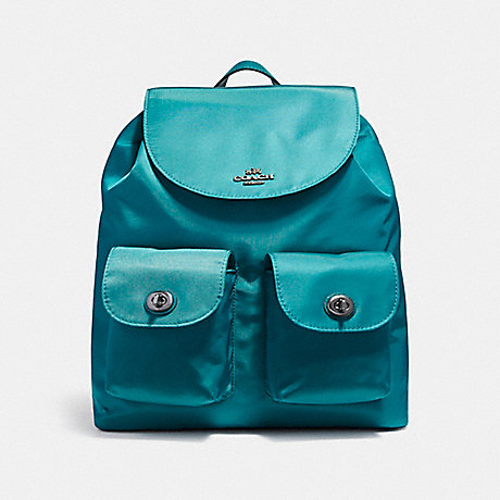 COACH f58814 NYLON BACKPACK BLACK ANTIQUE NICKEL/DARK TEAL