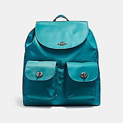 COACH NYLON BACKPACK - BLACK ANTIQUE NICKEL/DARK TEAL - F58814