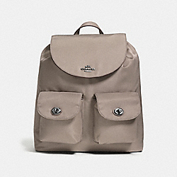 COACH NYLON BACKPACK - ANTIQUE SILVER/FOG - F58814
