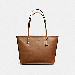 COACH CITY ZIP TOTE IN CROSSGRAIN LEATHER AND COATED CANVAS - LIGHT GOLD/SADDLE 2 - F58846
