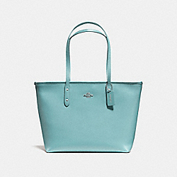 CITY ZIP TOTE - f58846 - SILVER/AQUAMARINE