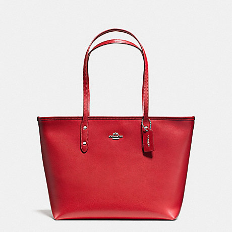 COACH f58846 CITY ZIP TOTE IN CROSSGRAIN LEATHER AND COATED CANVAS SILVER/TRUE RED