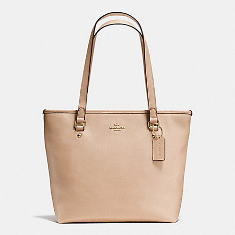 COACH f58894 ZIP TOP TOTE IN CROSSGRAIN LEATHER IMITATION GOLD/BEECHWOOD