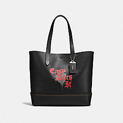 GOTHAM TOTE WITH WILD LOVE PRINT - BLACK/BURNT SIENNA - COACH F58929
