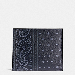 COACH 3-IN-1 WALLET IN PRAIRIE BANDANA COATED CANVAS - MIDNIGHT NAVY - F58932