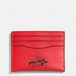 SLIM CARD CASE IN GLOVE CALF LEATHER WITH MICKEY - f58934 - RED
