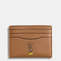 SLIM CARD CASE IN GLOVE CALF LEATHER WITH MICKEY - f58934 - SADDLE