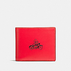 3-IN-1 WALLET IN GLOVE CALF LEATHER WITH MICKEY - f58938 - RED
