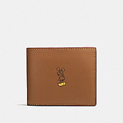 3-IN-1 WALLET IN GLOVE CALF LEATHER WITH MICKEY - f58938 - SADDLE