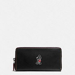 ACCORDION ZIP WALLET IN GLOVE CALF LEATHER WITH MICKEY - f58939 - ANTIQUE NICKEL/BLACK