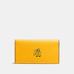 UNIVERSAL PHONE CASE IN GLOVE CALF LEATHER WITH MICKEY - f58942 - BANANA