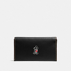 UNIVERSAL PHONE CASE IN GLOVE CALF LEATHER WITH MICKEY - f58942 - BLACK