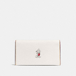 UNIVERSAL PHONE CASE IN GLOVE CALF LEATHER WITH MICKEY - f58942 - CHALK