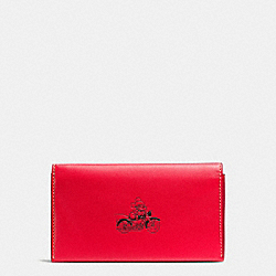 UNIVERSAL PHONE CASE IN GLOVE CALF LEATHER WITH MICKEY - f58942 - RED
