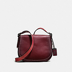 SADDLE 23 WITH COLORBLOCK SNAKESKIN DETAIL - BORDEAUX/BLACK COPPER - COACH F58967