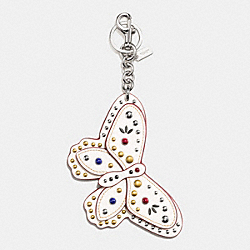 COACH STUDDED BUTTERFLY BAG CHARM - SILVER/CHALK - F58996
